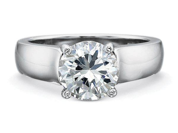 Wide Platinum Solitaire Engagement Ring