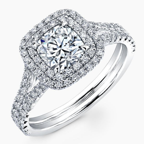 1.38 CTW. Double Halo Split Band Engagement Ring