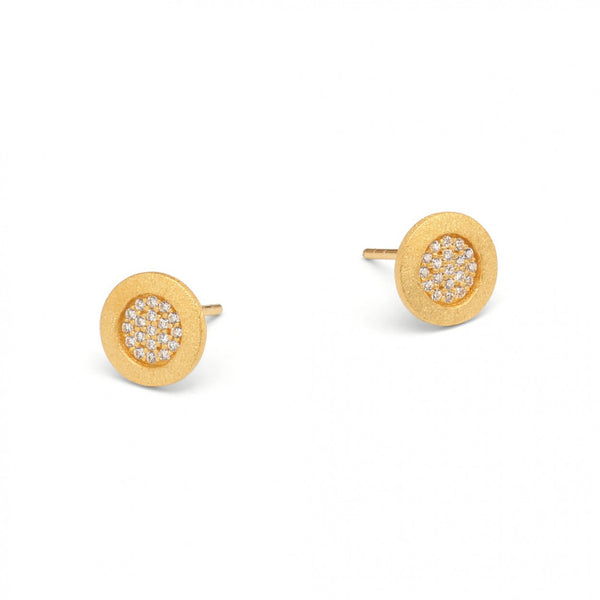 Gold Plated Earrings with Cubic Zirconium by Bernd Wolf