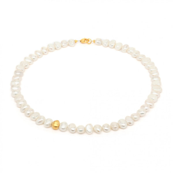 Gold plated Sterling Silver Necklace by Bernd Wolf features Fresh Water Pearls