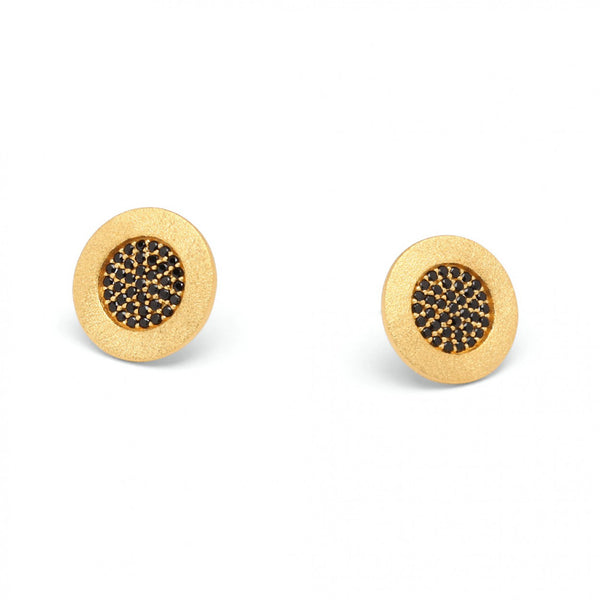 Yellow Gold Plated Black Spine Earrings by Bernd Wolf