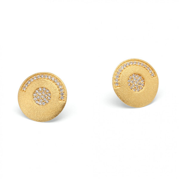 Gold Plated Earrings with Round Cubic Zirconiums by Bernd Wolf