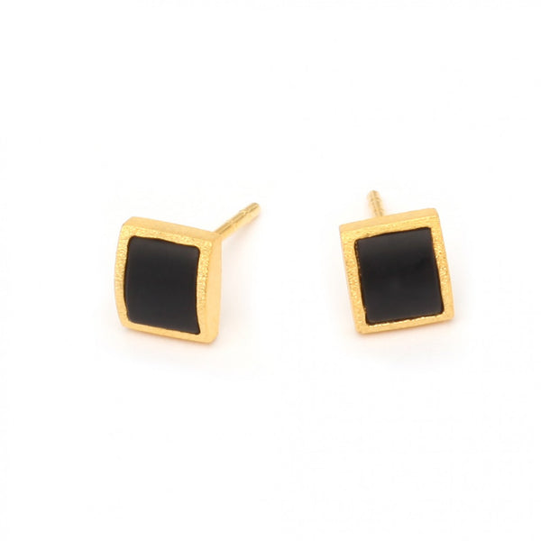 Gold Plated Stud Earrings with Hematite by Bernd Wolf