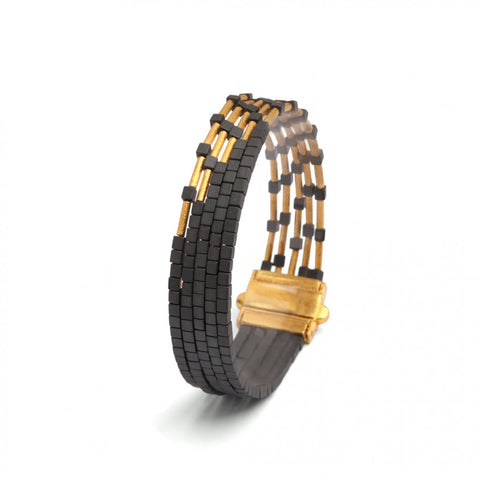 Yellow Gold Over Sterling Silver Hematite Bracelet by Bernd Wolf