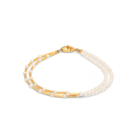 24K Yellow Gold Over Sterling Silver Pearl Bracelet