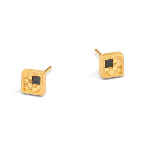Touch of Hematite Square Studs