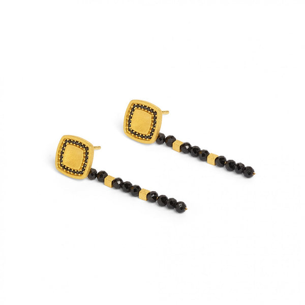 Black Spinel Drop Earrings by Bernd Wolf