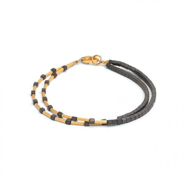 24K Yellow Gold Over Sterling Silver Hematite Bracelet
