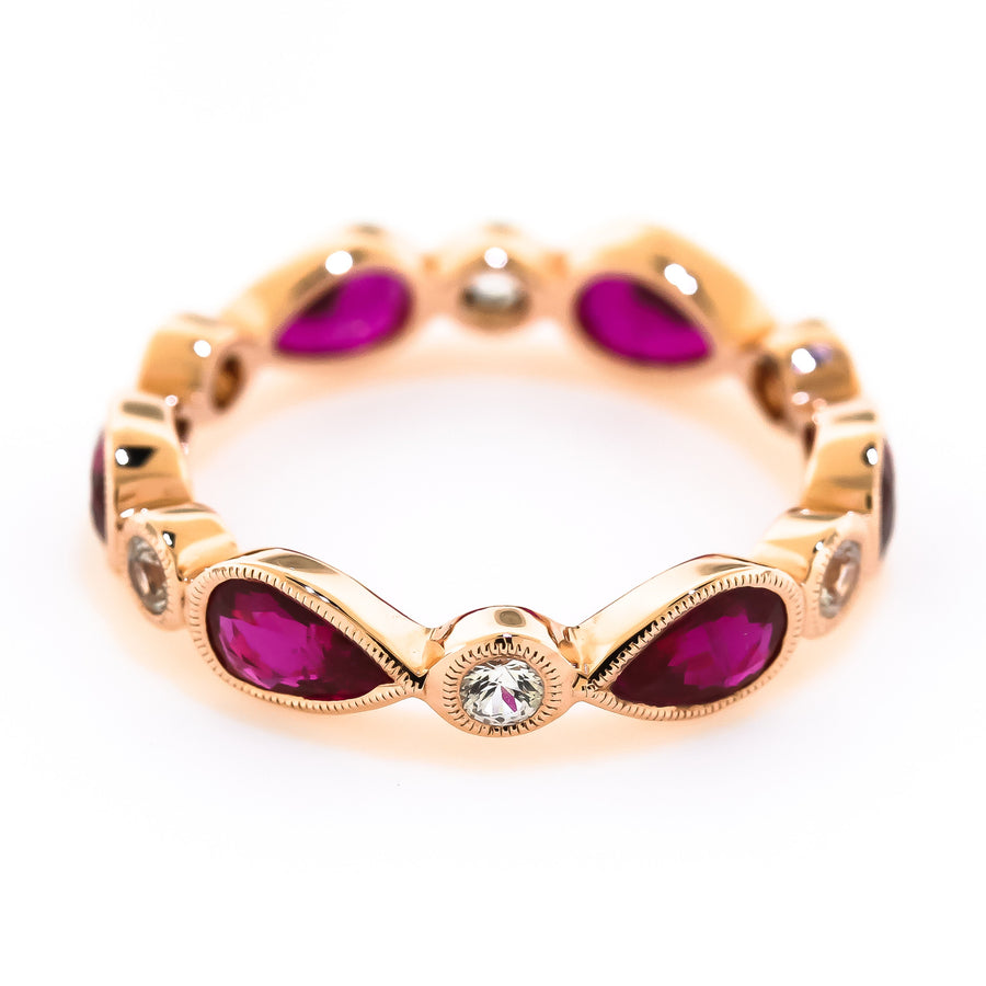 Rose Gold Ruby and Sapphire Band