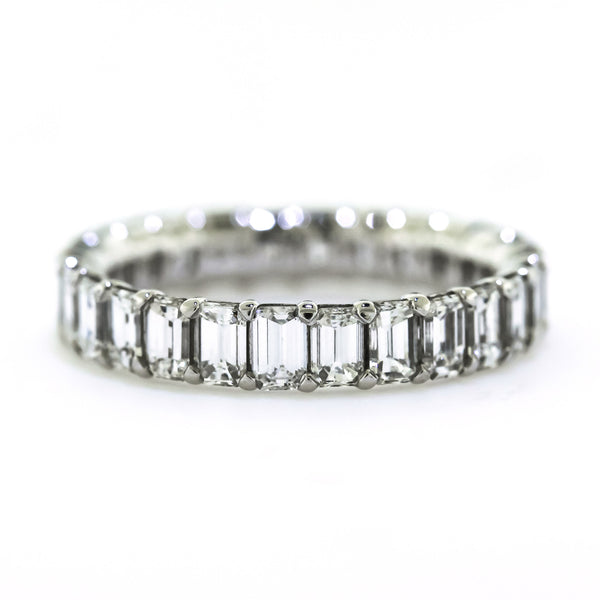 2.67 CTTW. Platinum Emerald Diamond Eternity Ring
