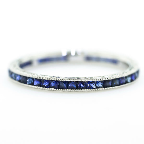 White Gold Engraved Sapphire Eternity Band