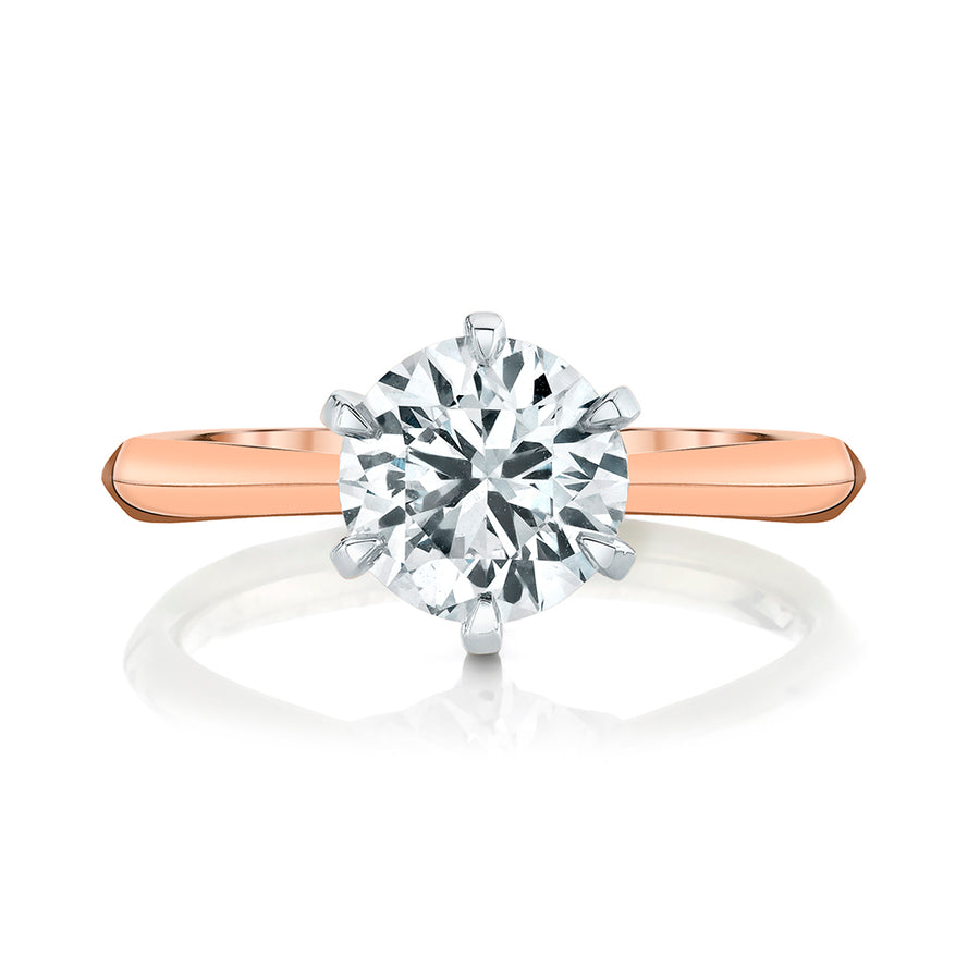 Rose Gold Six Prong Solitaire Setting