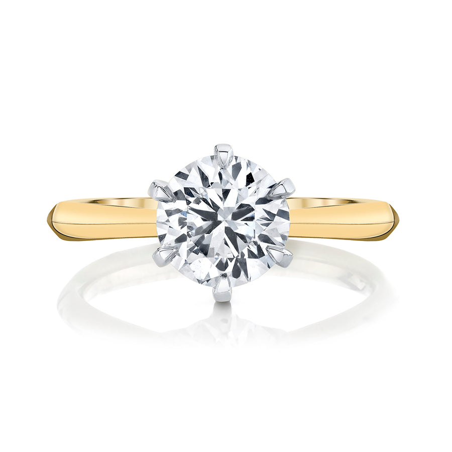 Yellow Gold Six Prong Diamond Setting