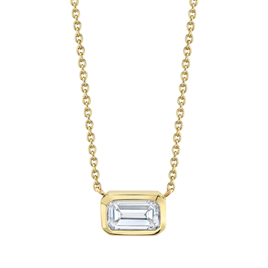 Emerald Cut Bezel Necklace