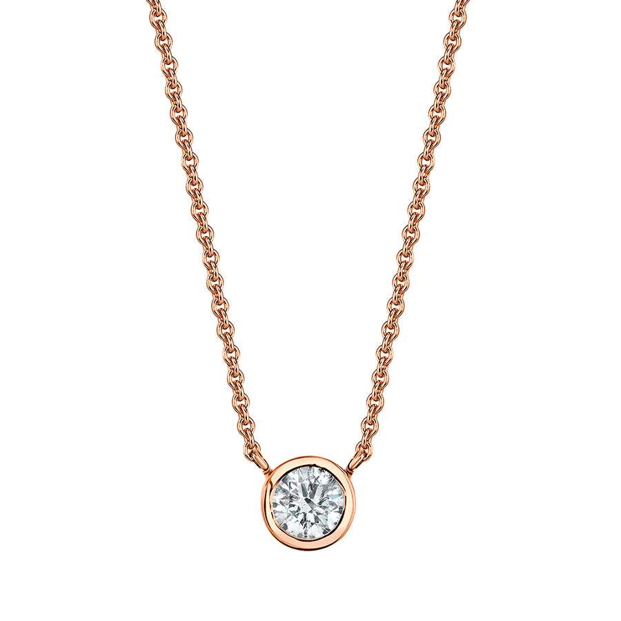Bezel Set Single Diamond Necklace