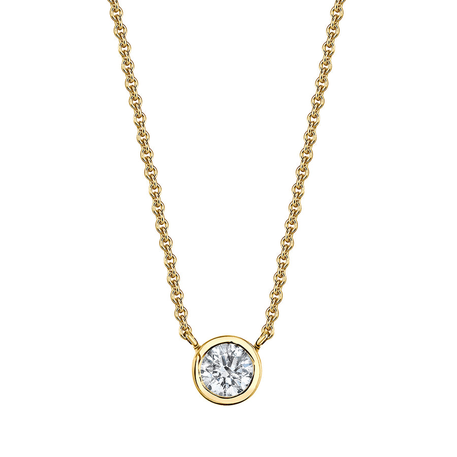 Yellow Gold Bezel Set Single Diamond Necklace