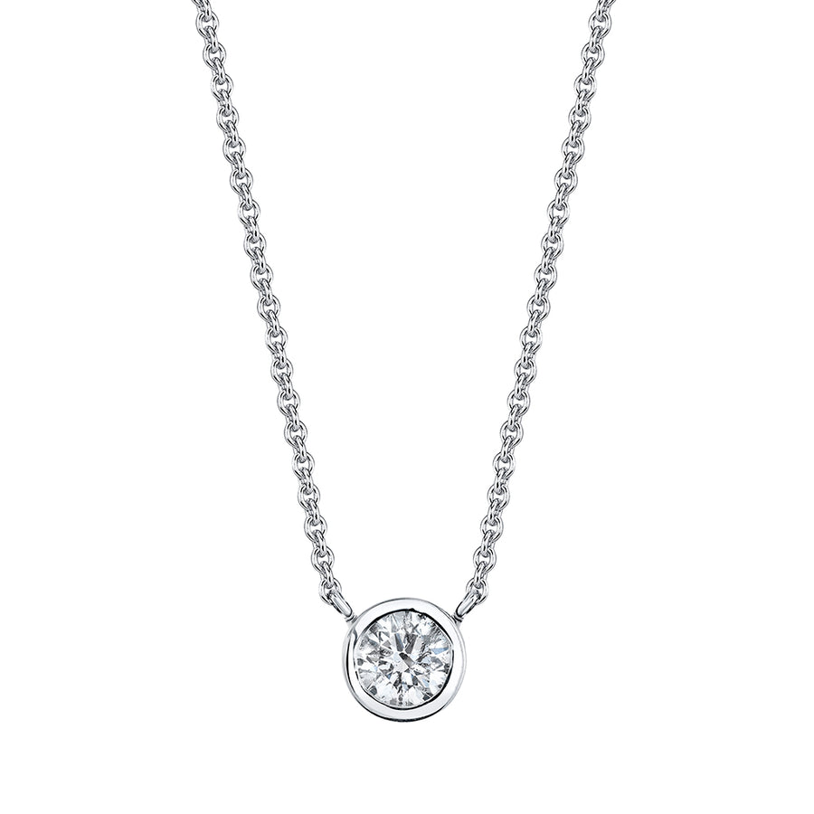 White Gold Bezel Set Necklace