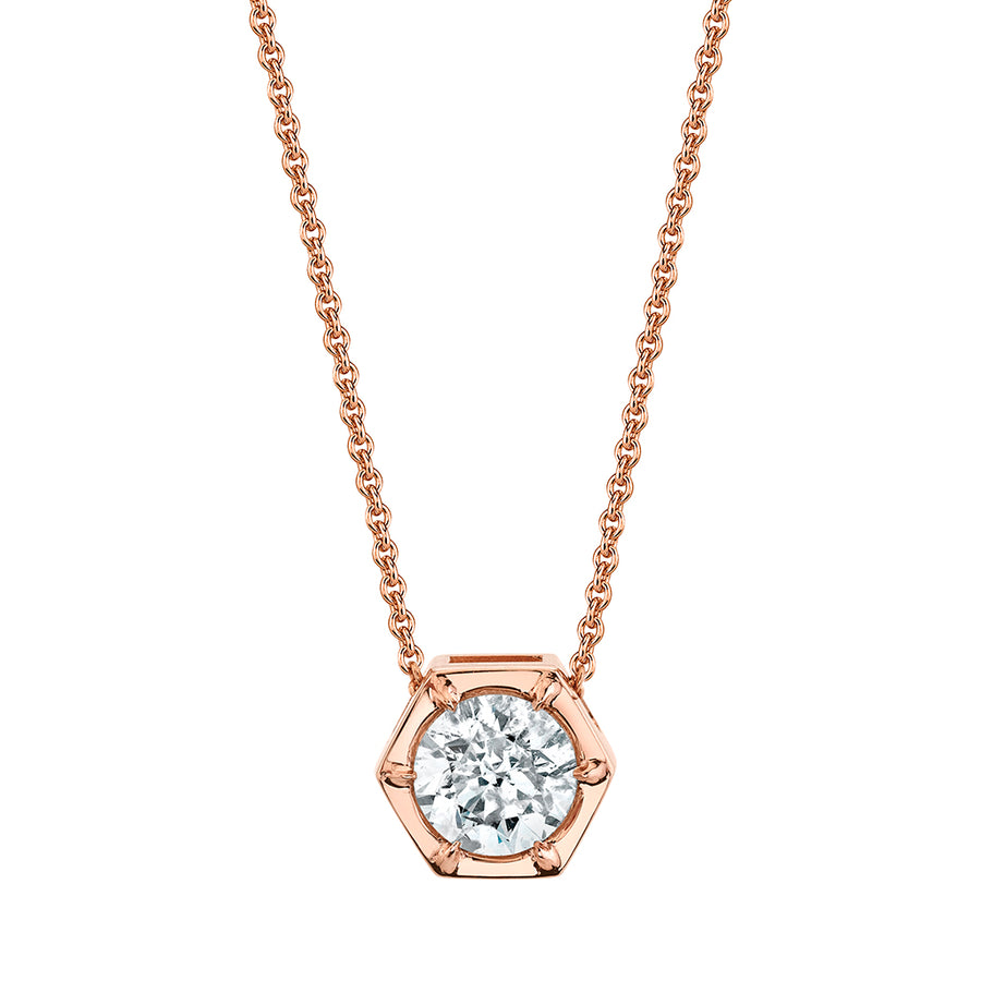 Rose Gold Hexagon Diamond Necklace