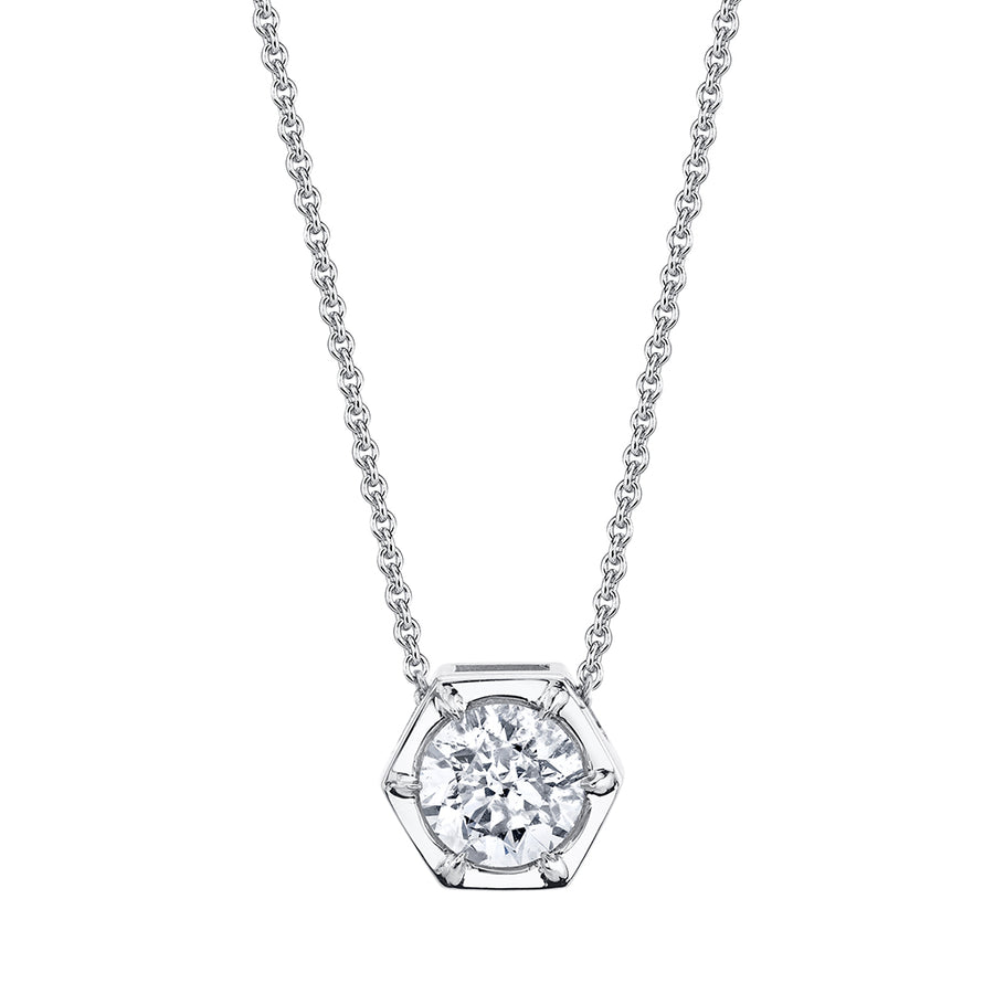 White Gold Hexagon Diamond Necklace