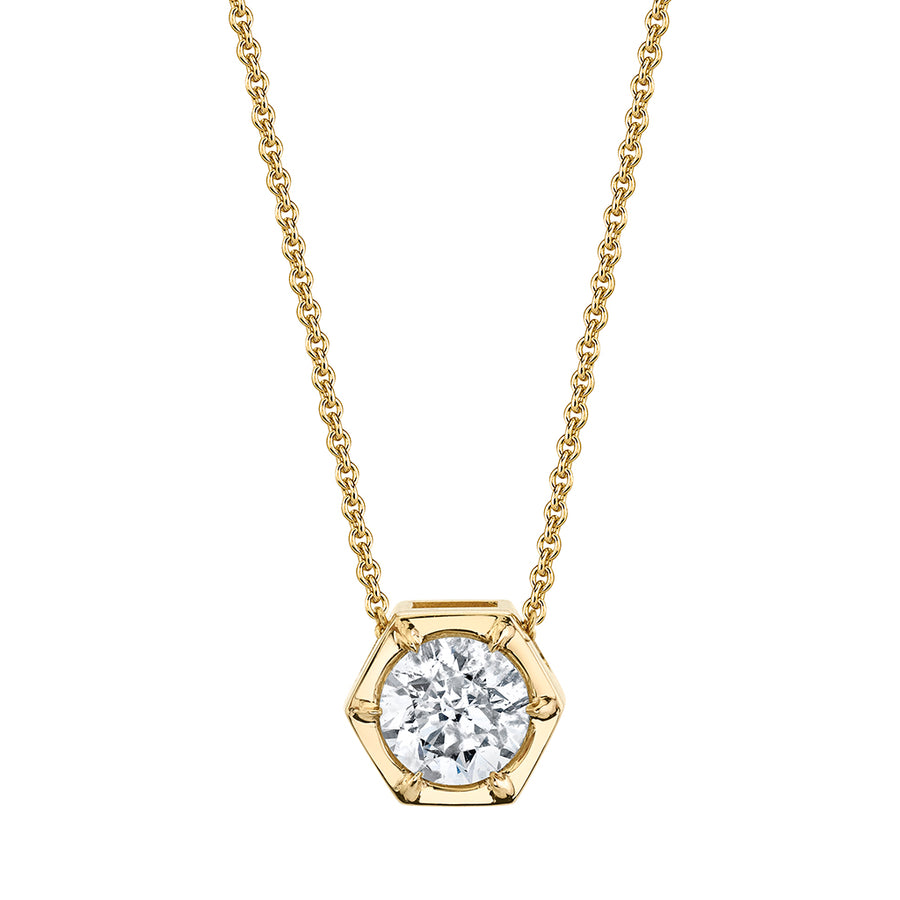 Hexagon Solitaire Diamond Necklace