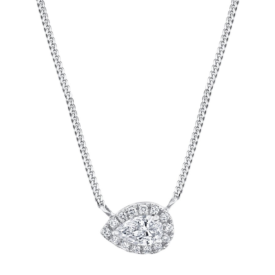 White Gold East East Pear Cut Diamond Necklace