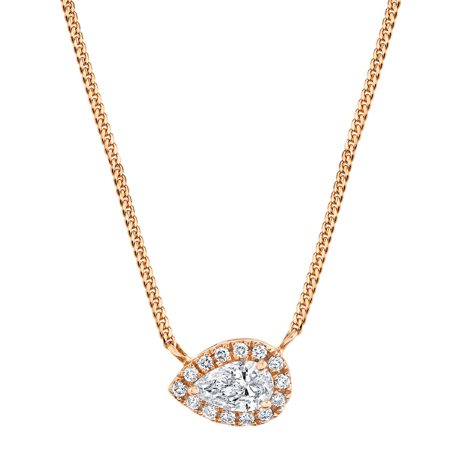 Rose Gold East-West Pear Cut Diamond Necklace