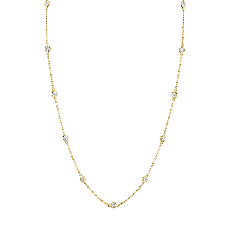 Yellow Gold Diamond Station Necklaces