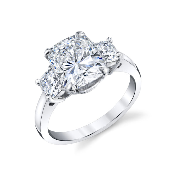 Three Stone Ring with Cushion Cut Diamonds