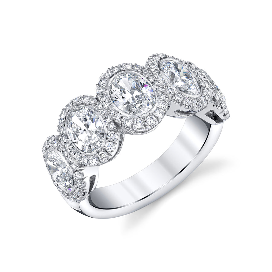 Platinum Five Stone Oval Ring