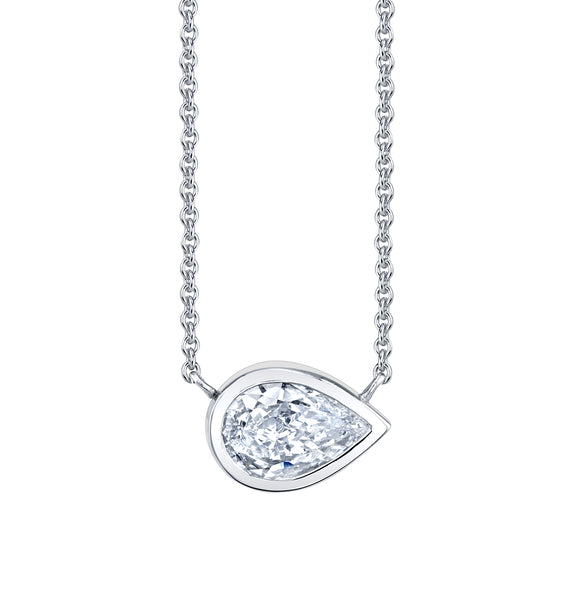 Bezel Set Pear Diamond Necklace