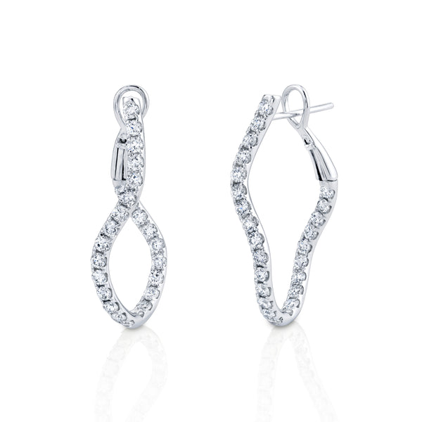 Curved Diamond Hoop Earrings