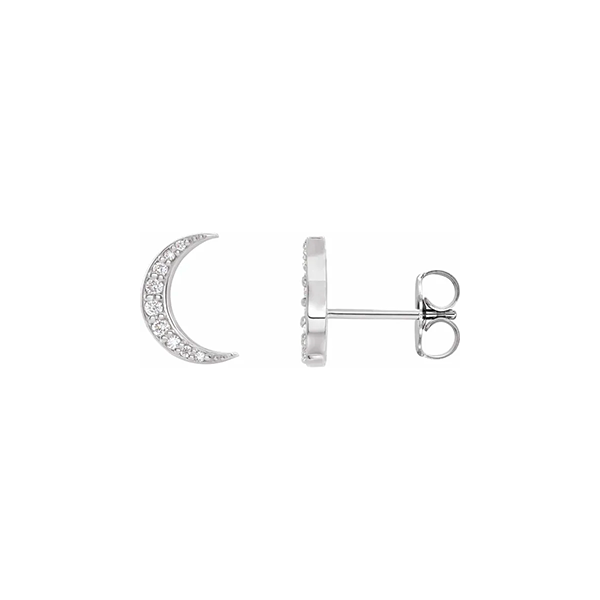 White Gold Crescent Moon Earrings