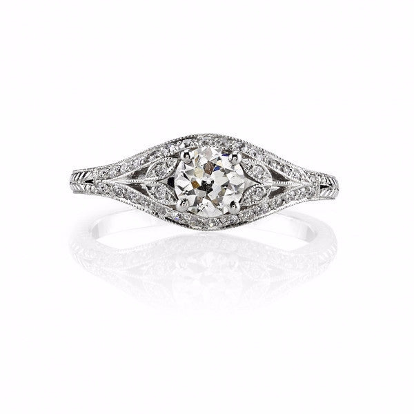 Single Stone Vintage Diamond Engagement Ring with Floral Accents