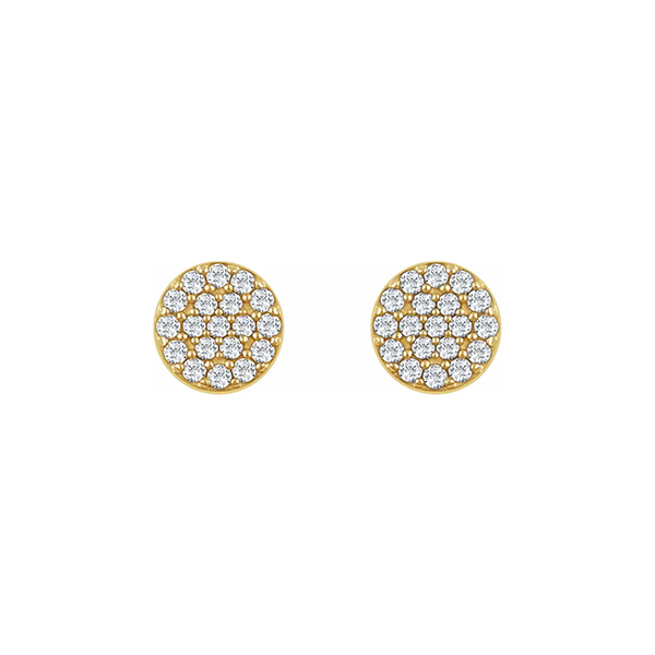 14K White Gold Diamond Disc Earrings