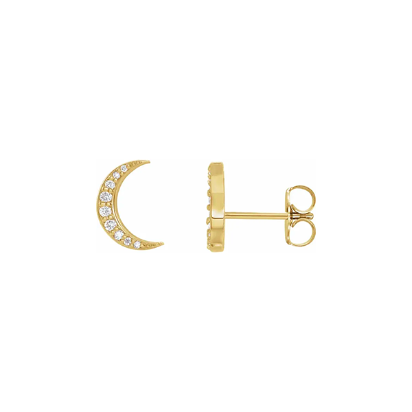 14K White Gold Crescent Moon Earrings