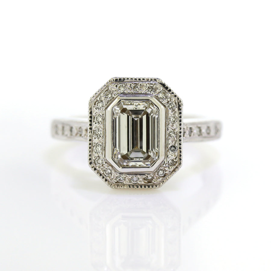 Emerald Cut Side Profile Engagement Ring