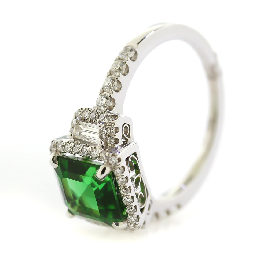 3.18 CTTW. Chrome Tourmaline Ring