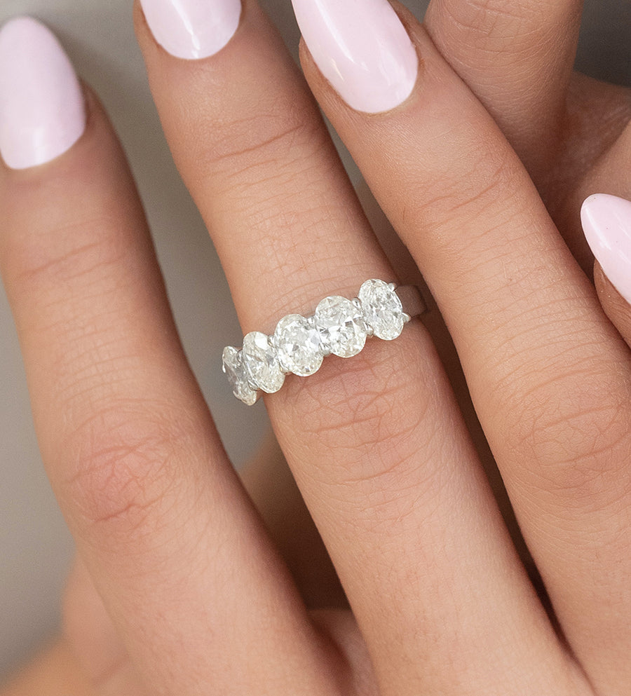 Five Stone Oval Diamond Anniversary Ring