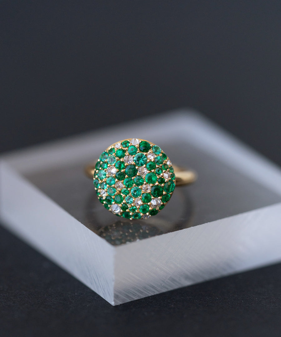 Popular Green Emerald and Diamond Ring