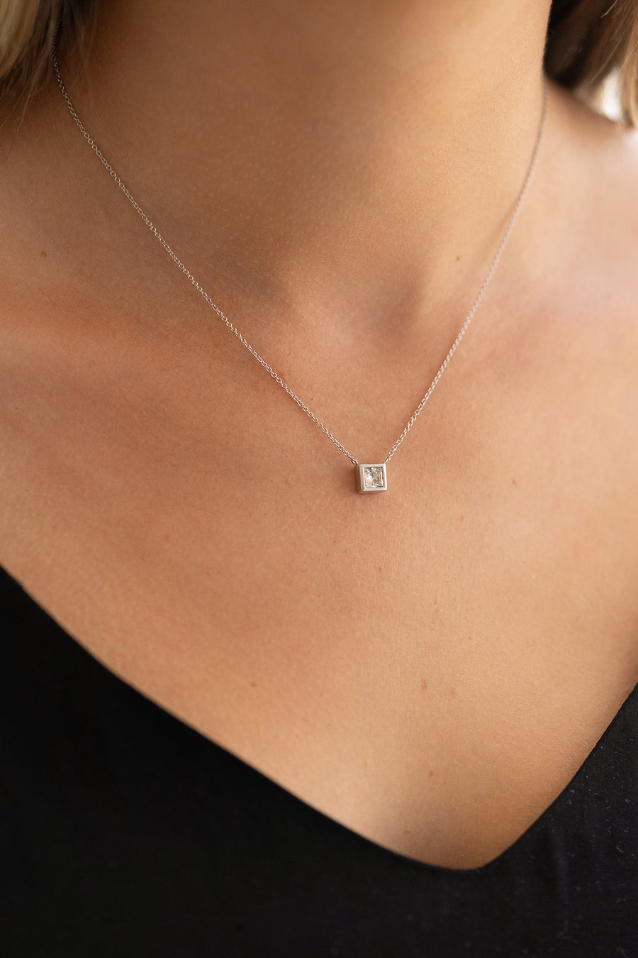 Single Princess Cut Necklace