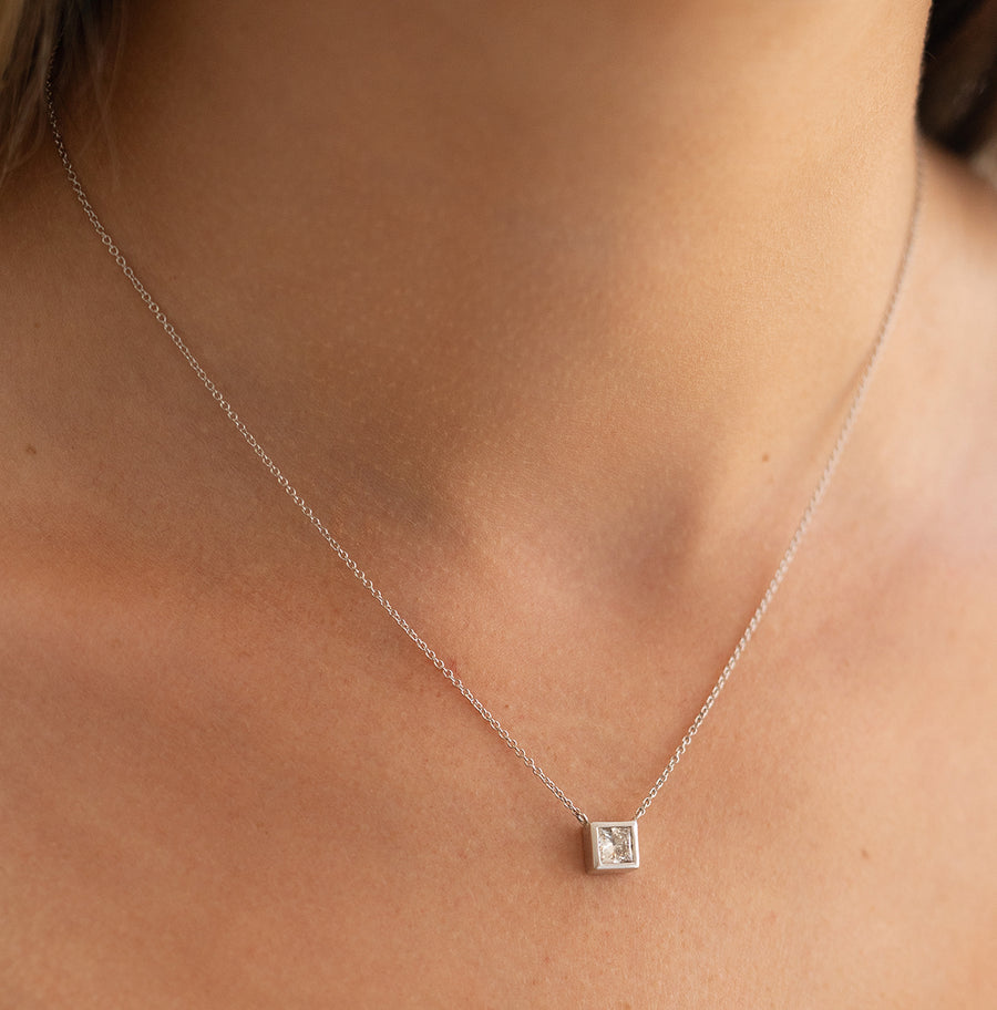 Bezel Set Princess Cut Diamond Necklace