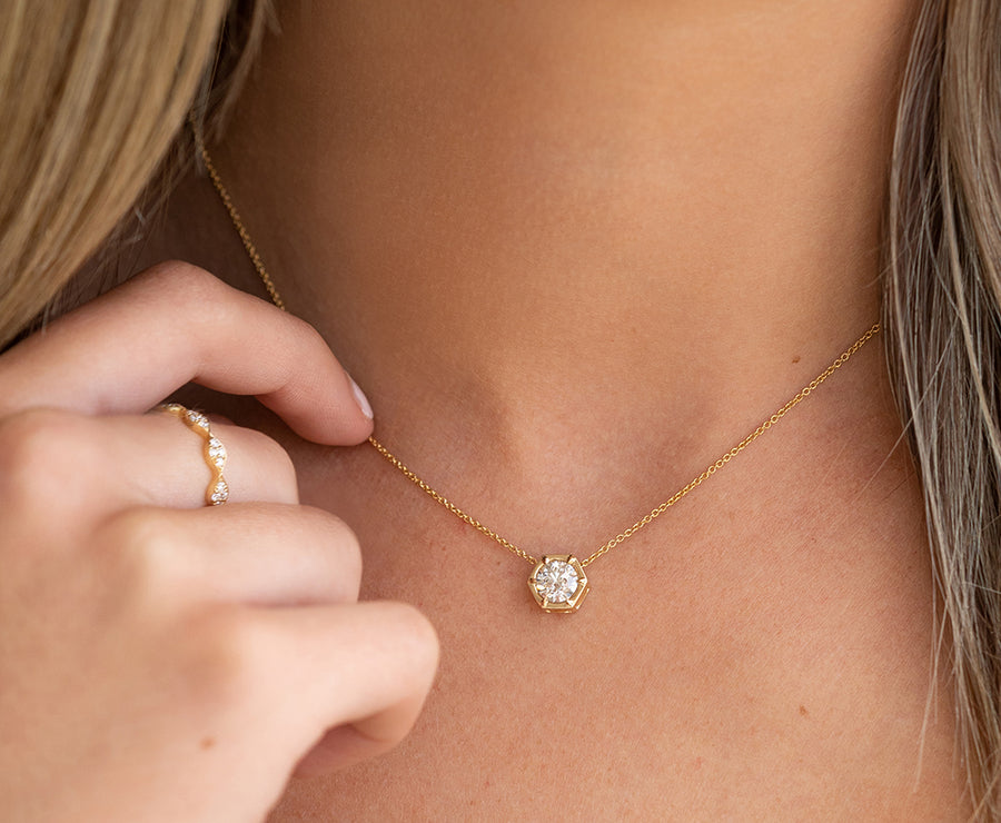 Hexagon Single Diamond Necklace