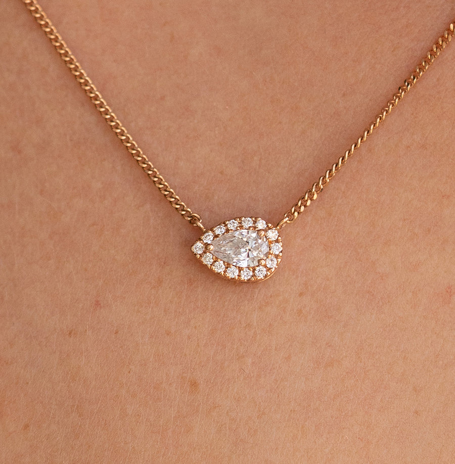 Rose Gold East/West Pear Necklace