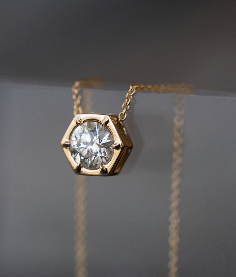Yellow Gold Hexagon Diamond Necklace