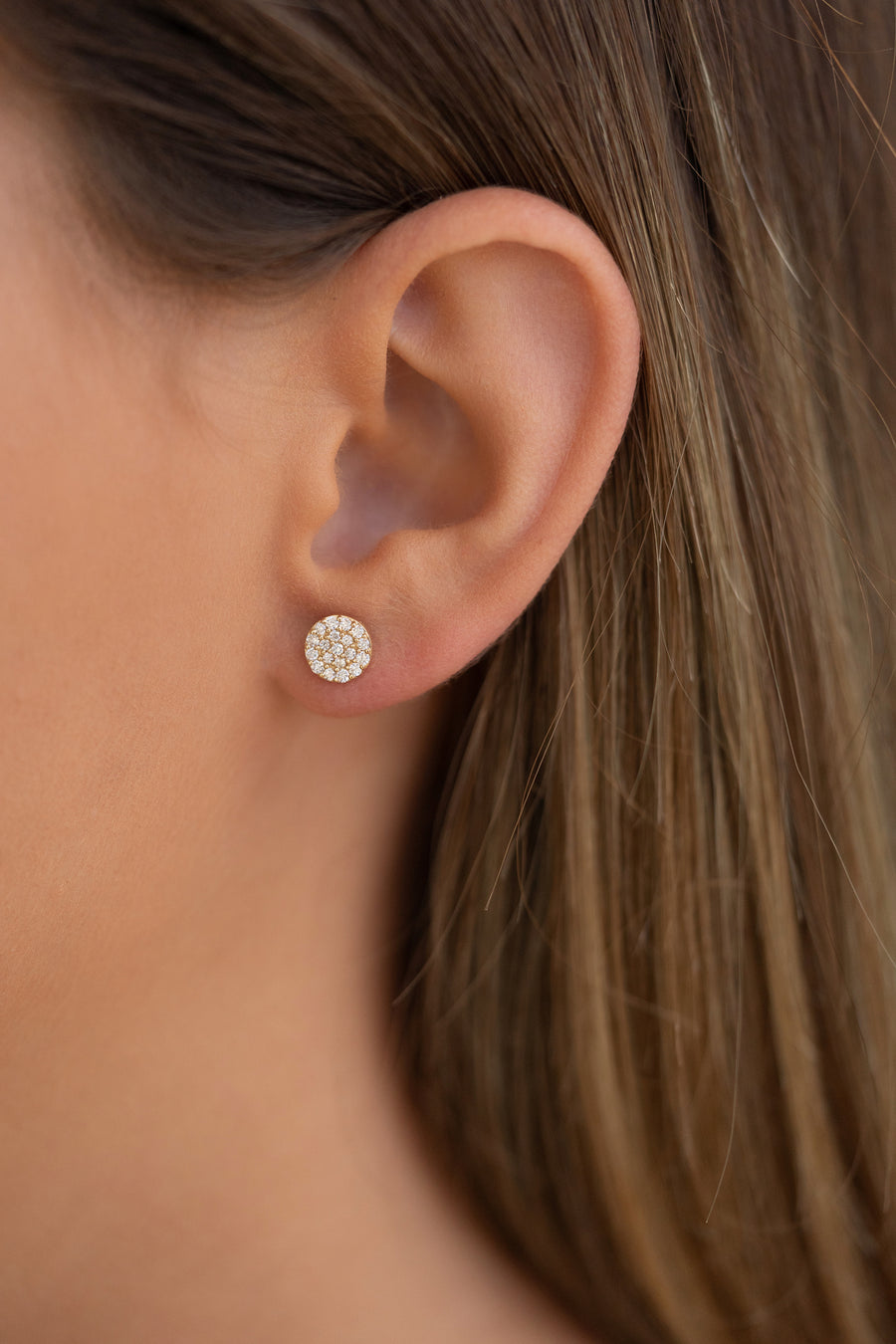14K Yellow Gold Diamond Disc Earrings