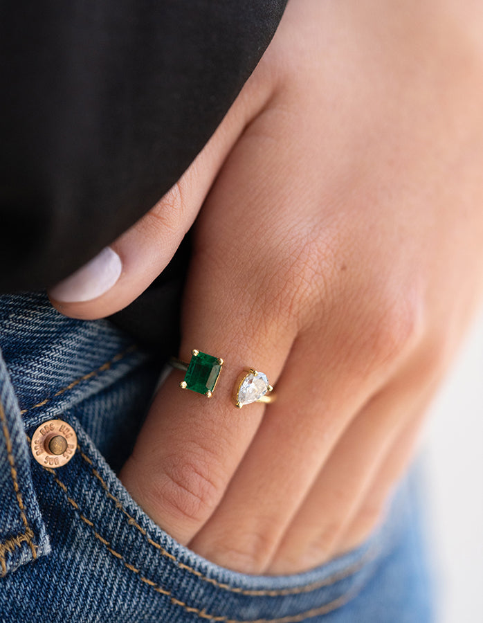 Emerald & Pear Diamond Ring