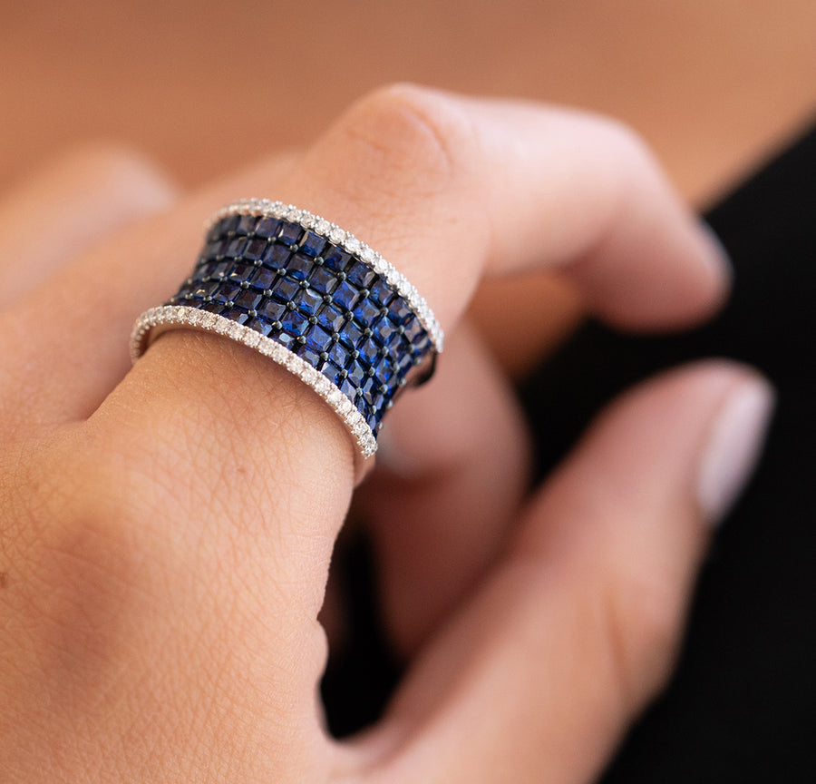 Wide Sapphire Band Ring