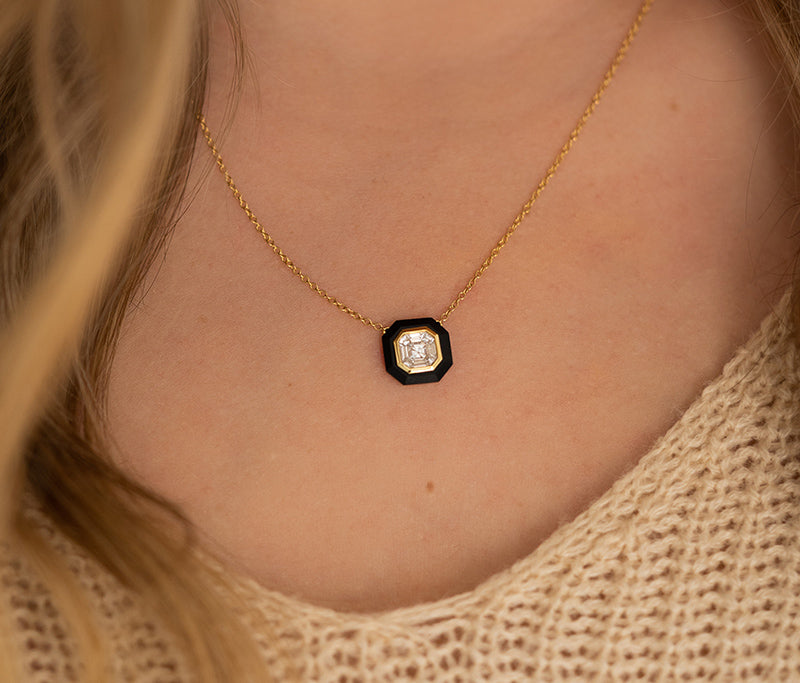 Black Onyx and Diamond Necklace