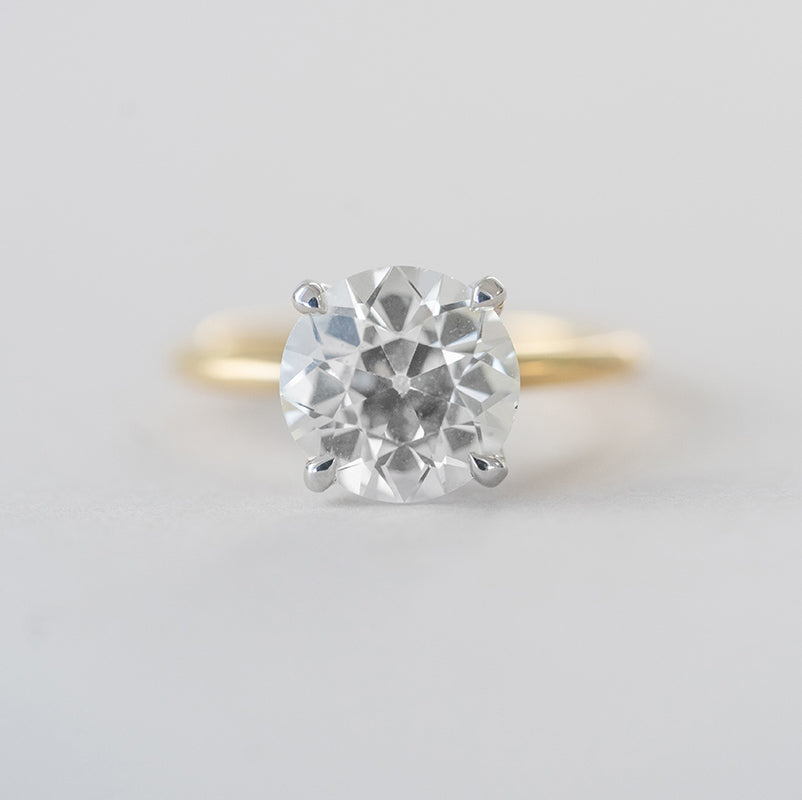 2.75 ct. old European Cut Yellow Gold Solitaire