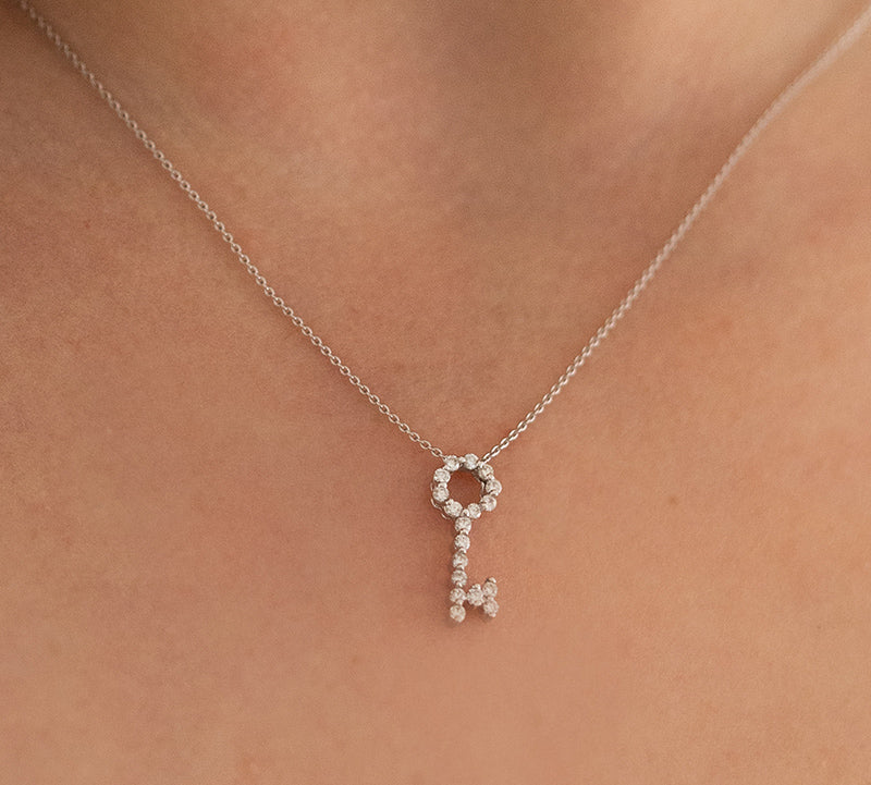 White Gold Diamond Key Necklace
